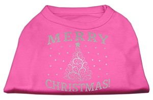 Shimmer Christmas Tree Pet Shirt Bright Pink XS (8)